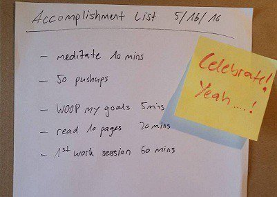 accomplishment list productivity